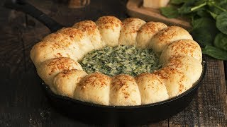 Skillet Bread Four Cheese Spinach Dip by Home Cooking Adventure