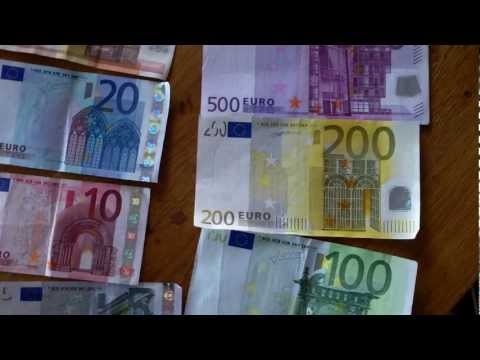 Euro (Currency) - I had to go to the bank at the post-office to get the 100 , 200 and 500 Euro banknotes , the 5 , 10 , 20 and 50 euro notes are in everybody's wallet for ever...