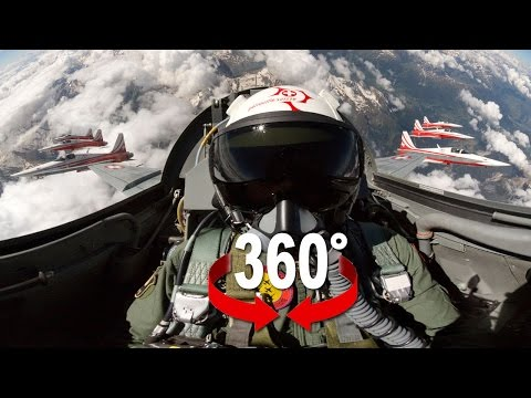Fighter Jet (Patrouille Suisse) 360 video with a nice view over the alps.