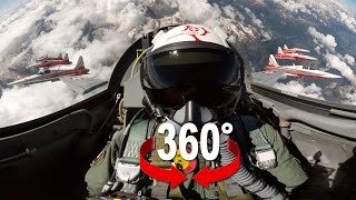 360° movie from the cockpit of a Swiss Air Force F-5 fighter jet with the team «Patrouille Suisse» flying over the Swiss Alps. The ...