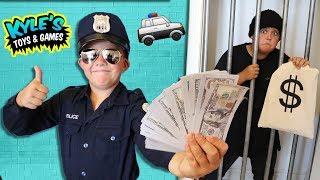🚓 KID COP vs ROBBERS STEAL A MILLION DOLLARS! Family Friendly Hide n Seek GAME For Kids Imagination!
