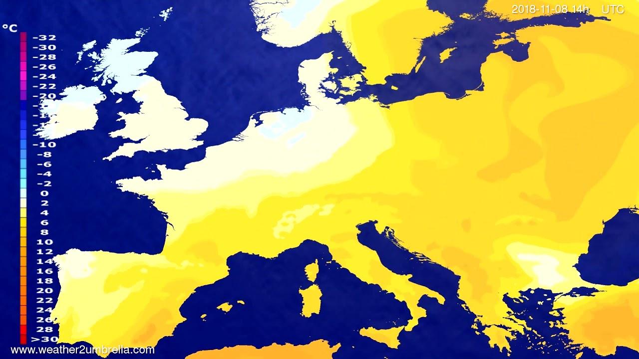 Temperature forecast Europe 2018-11-06