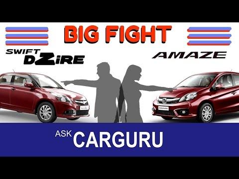 Maruti DZIRE vs Honda AMAZE, The Big Fight CARGURU, Maruti Suzuki & Honda, true diesel sedan हिन्दी