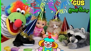 Birthday Party Surprise Gus becomes a Clown! Family Funny Kids Video with Zoo animals