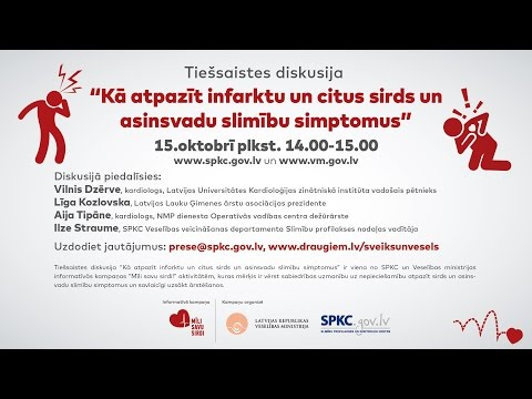 Notiek tiešsaistes diskusija kā atpazīt infarktu un citus sirds un asinsvadu slimību simptomus