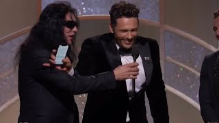 Video Tommy Wiseau tries to steal mic from James Franco but fails during 2018 Golden Globes speech MP3, 3GP, MP4, WEBM, AVI, FLV Juni 2018