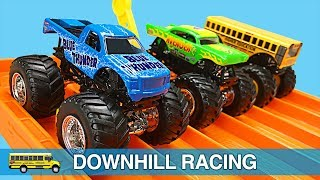 Monster Trucks for Kids - Hot Wheels Monster Jam Monster Truck Downhill Racing on a Hot Wheels Cars Super 6-Lane Raceway Track for Children & Toddlers - Organic Learning.  Please take a moment to LIKE our video, SHARE it with family & friends, and SUBSCRIBE to our Organic Learning channel… Your help and support are greatly appreciated!  Subscribe to our YouTube Channel:  http://www.youtube.com/subscription_center?add_user=OrganicLearning Follow us on Twitter:  https://twitter.com/OrganicLearningFollow us on Instagram:  https://instagram.com/OrganicLearningOfficial Website:  https://OrganicLearning.com - Fun Toy Giveways, Coloring Downloads, & More.Fan Mail - If you would like us to feature your letter or car/truck drawing in a future episode, please send them to (email) FanMail@OrganicLearning.com or (snail mail) Organic Learning, 2355 Westwood Blvd. #321, Los Angeles, CA 90064 USA.  NOTE:  If you are under the age of 18, please get your parent or guardian's permission before sending fan mail or fan email as it may be shared publicly on our website, social media pages, and in our YouTube videos. Full names and addresses will never be shared.This fun, educational, early learning video features Hot Wheels Monster Jam die-cast monster trucks by Mattel and a Hot Wheels Cars Super 6-Lane Raceway to teach kids about Monster Jam Monster Trucks, colors and numbers.  In this fun monster truck video for kids, children will learn about 8 different Monster Jam Monster Truck vehicles:  Blue Thunder, Higher Education, Avenger, Prowler, Iron Man, Max-D, Mohawk Warrior, and Monster Mutt.  If you like monster trucks, be sure to check out our popular family-friendly Blaze and the Monster Machines Downhill Racing Video for Children & Toddlers:  https://youtu.be/CY_ikxlGLdYHave fun learning about more cars, trucks, street vehicles, and monster trucks as we continue our series of fun kid-friendly street vehicles videos for kids!Official Merchandise:  http://organiclearning.spreadshirt.c