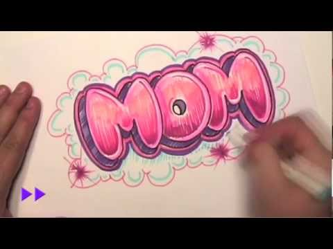 Mom - How to Draw Graffiti Letters - http://www.drawingteachers.com - Write Mom in Bubble Letters. In this step-by-step lesson, You will learn how to draw simple l...