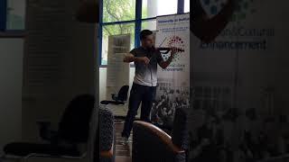 Natan Babek performs electric violin at South Campus