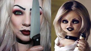 HALLOWEEN: Bride of Chucky / Tiffany Makeup Tutorial | shlemonade - YouTube