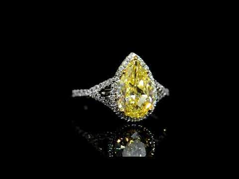 GIA Certified 2.70ct Pear Brilliant Cut Fancy Intense Yellow Diamond Ring