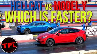 Not Even CLOSE! Can A Tesla Model Y Performance Keep Up With A Dodge Challenger Hellcat Redeye? by The Fast Lane Car