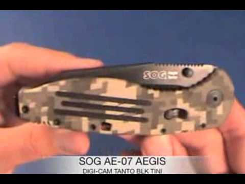 SOG Aegis Tanto Folding Knife Digi Camo with Black TINI Blade AE-07