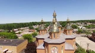 Aerial shots of St. Josaphat Ukrainian Catholic Church