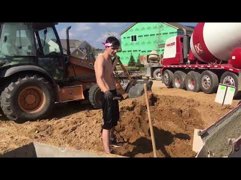 Pouring Concrete for Garage Trench Foundation