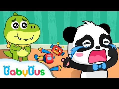 Baby Panda Kiki Crying in Kindergarten | Play with Toy Robot | Animation & Kids Songs | BabyBus (видео)
