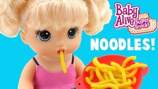 Baby Alive Snackin' Noodles Baby Doll!  Baby Eats Noodles and Poops!Subscribe to Toy Reviews For You: bit.ly/1CyaPemFollow MeInstagram: http://instagram.com/toyreviewsforyouTwitter: https://twitter.com/ToyReviews4YouFacebook  https://www.facebook.com/pages/Toy-Reviews-For-You/119789888191540Music is from Audioblocks.com and the Youtube Library