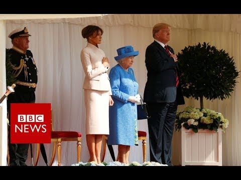 President Donald Trump arrive at Windsor- BBC News