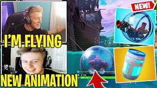 Streamers FIRST TIME Using *NEW* Fortnite BALLER Vehicle & Healing Animations!!