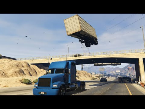 GTA 5 Semi Truck Stunt with C4 Nuke Mod