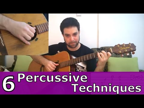 6 Percussive Fingerstyle Techniques & 15 Exercises – Guitar Lesson w/ TAB