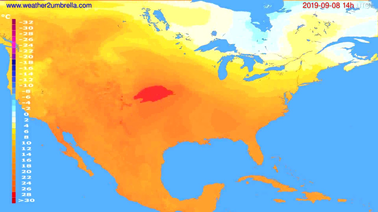 Temperature forecast USA & Canada // modelrun: 00h UTC 2019-09-06