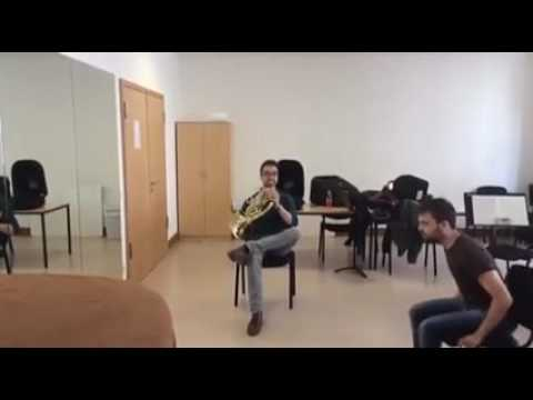 French horn and squeaky chair duet