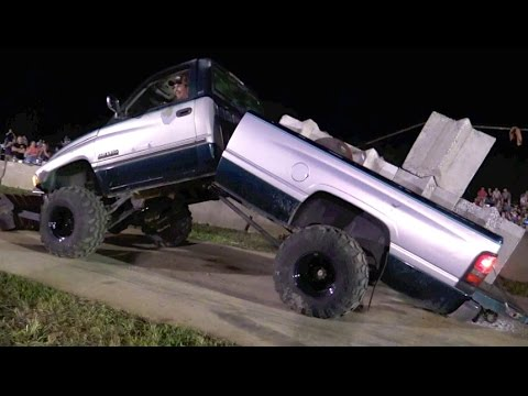 Truck pull bends Dodge truck in half. Unexpected outcome.