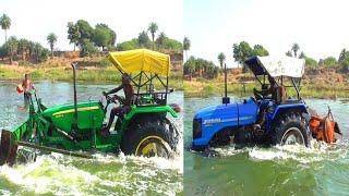 Washing with Fun John Deere ,Sonalika 60 and Eicher 380 tractor in Betwa River