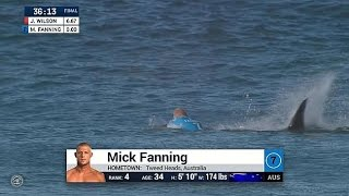 Sharks in lineup at J-Bay Open. Mick Fanning is unharmed. Contest has been called OFF for the day. 2015 JBay WSL.