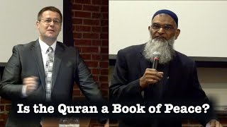 Is the Quran a Book of Peace?Interactive table of contents below.A debate on October 5th, 2015 between Dr. David Wood and Dr. Shabir Ally at UTC Derthick Lecture Hall in Chattanooga Tennessee.00:17 Welcome05:31 Introduction12:10 Dr. Shabir Ally's opening statement32:52 Dr. David Wood's opening statement53:21 Dr. Shabir Ally's First rebuttal1:05:34 Dr. David Wood's first rebuttal1:18:02 Dr. Shabir Ally's Second rebuttal1:26:36 Dr. David Wood's Second rebuttal1:34:45 Dr. Shabir Ally's Conclusion1:40:10 Dr. David Wood's Conclusion1:45:20 Q&A