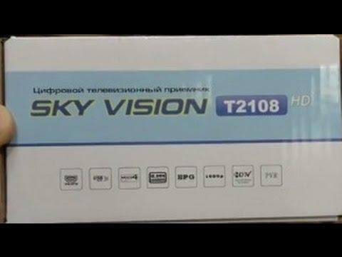 Обзор  ресивера DVB T2  SKY VISION T2108. Подключение, настройка и сброс.