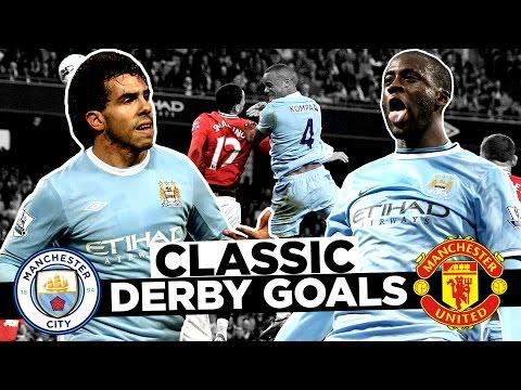 Video: BEST EVER MANCHESTER DERBY GOALS!   Man City v Man United 1969-2017