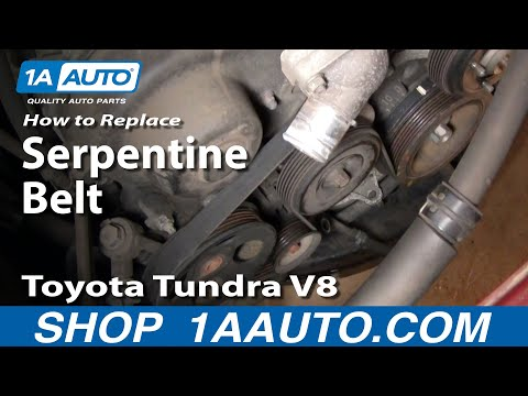 How to Install Replace Engine Serpentine fan Belt Toyota Tundra V8 00-02 1AAuto.com