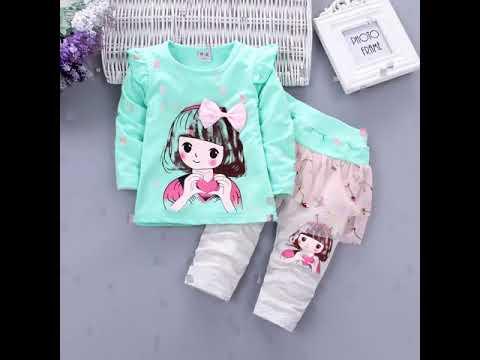 Комплекты детской одежды для девочек модные хлопковые с юбкой и штана… видео