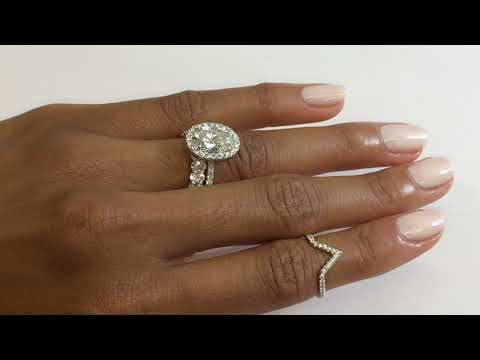 3.20 Ct Oval Diamond Halo Engagement Ring and Oval Cut Band