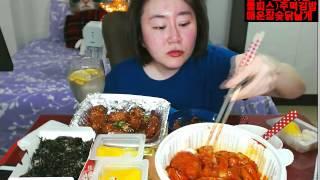BJ애봉이먹방 엽기떡볶이 & 매운참숯닭날개 & 주먹김밥