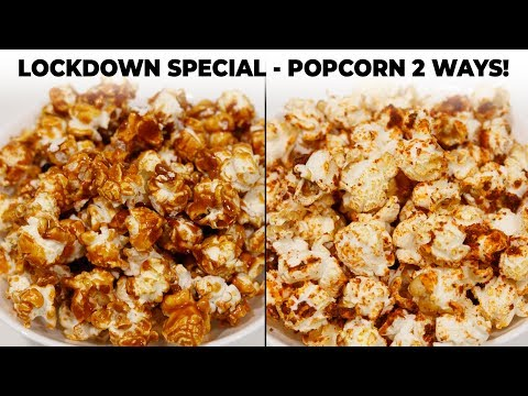 Caramel & Masala Popcorn Recipe - 2 Ways | Lockdown Special - CookingShooking
