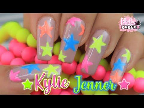 Videos de uñas - RECREANDO UÑAS NUEVAS de KYLIE JENNER  Estrellas Neon