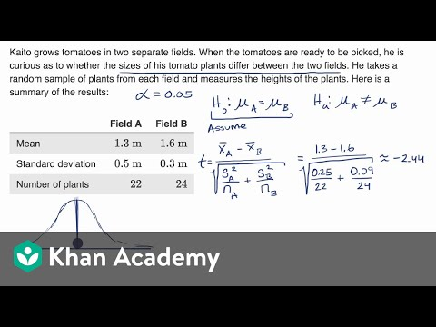 Two Sample T Test For Difference Of Means Video Khan Academy