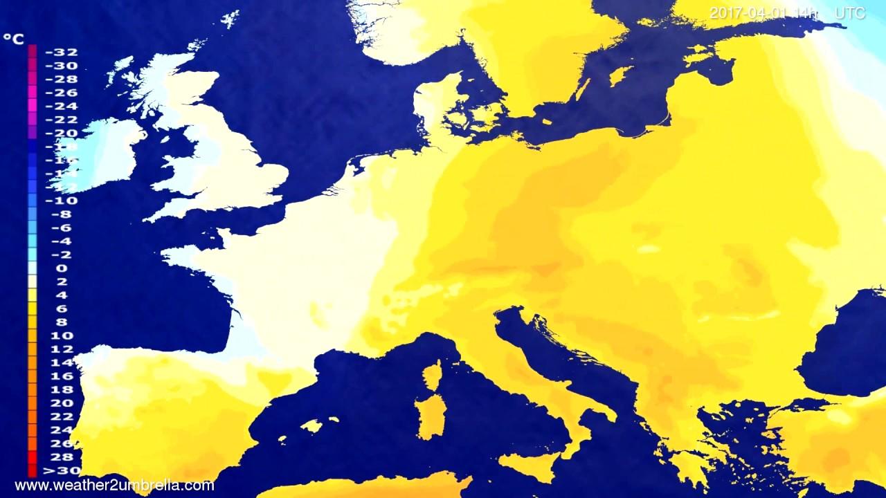 Temperature forecast Europe 2017-03-28