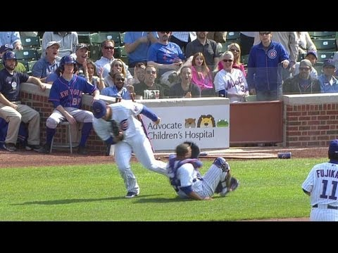 Video: NYM@CHC: Rizzo, Castillo collide on foul in ninth