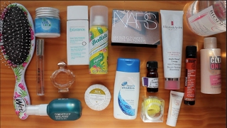 Travel Beauty EssentialsLast Video: https://youtu.be/d4XFjfXvi0YCheck out my most recent vlogs: http://bit.ly/2gGqdRmProducts:Exuviance Sheer Daily Protector http://amzn.to/2kPGrMGInvisibobbles http://bit.ly/2kPO064Lavender Oil Original Mineral Surf Bomb Sea Salt Spray http://bit.ly/2lMFlQjElizabeth Arden 8 hour Cream http://bit.ly/2lMS6t3NARS Laguna Bronzer http://bit.ly/2l5lxHFBioderma Mattifying Fluid http://bit.ly/2knoUwDNatural World Brazilian Keratin Treatment http://amzn.to/2kHaELpSoap & Glory Clean On Me Shower Gel http://bit.ly/2l5gFm6Vita Coco Coconut Oil http://bit.ly/2lMCE0KBatiste Dry Shampoo Tropical http://bit.ly/2lgwAQkWet Brush http://bit.ly/2lMAApxHead & Shoulders Antidandruff Shampoo http://bit.ly/2le9TN5Bioderma http://bit.ly/2ldJ6R2New Look Pure Blush Pink Perfume http://bit.ly/1OWvNLePaco Rabanne Olympea http://bit.ly/2ktZbOiFIND ME ELSEWHERE:Blog: http://georgie-awaywiththefairies.blogspot.co.uk/Facebook: https://www.facebook.com/pages/Away-With-The-Fairies/319156461563847Twitter: @georgie_mbTumblr: http://red-burning-red.tumblr.com/Pinterest: http://www.pinterest.com/georgiemb/Instagram: @georgie_mbSnapchat: georgie-mbEmail: georgiemb@waitrose.comDisclaimer: I have not been paid at all to make this video. All the products mentioned have either been bought with my own cash or have been kindly gifted to me by companies or friends. Any gifted items featured are marked with a *. All opinions are my own.