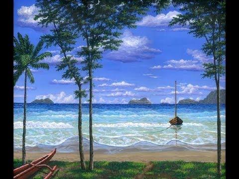 חוף ים - איך לצייר חוף ים בהוואי באמצעות אקריליק על בד.