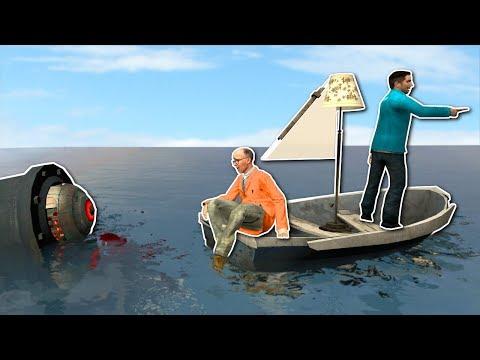 BUILDING A BOAT AGAINST ROBOT SHARK!? - Garry's Mod Gameplay - Gmod Sandbox Boat Building (видео)