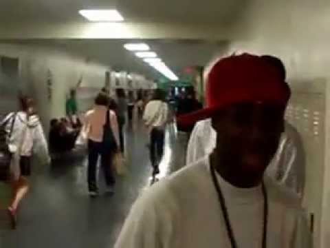 Malcolm Sigers rapping and going crazy in the hallway at Jackson High School in Michigan (2010)