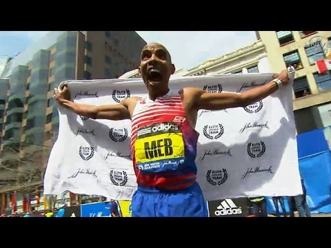 boston - http://www.UniversalSports.com 2014, Boston, Massachusetts, USA, In the 118th Boston Marathon, Meb Keflezighi becomes the first American man to win since 198...