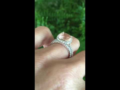 GENUINE MORGANITE AND DIAMOND HALO ENGAGEMENT RING AND WEDDING BAND