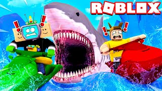 UNSPEAKABLE and MOOSE vs WORLD'S BIGGEST SHARK! (Roblox)