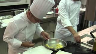 Beck cooks a pasta dish at 3 Michelin La Pergola, Rome